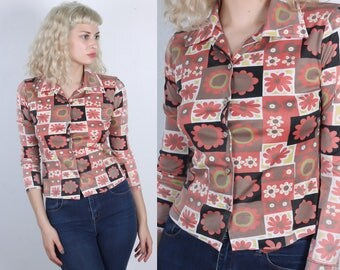 70s Floral Button Up Blouse // Vintage Patchwork Disco Top 3/4 Sleeve Shirt Womens - Extra Small