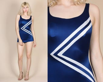 80s Low Back Swimsuit - Small/Medium // Vintage Blue Striped One Piece Bathing Suit