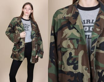 80s Camo Army Jacket - Mens Medium Regular // Vintage Button Up Shirt Military Camouflage