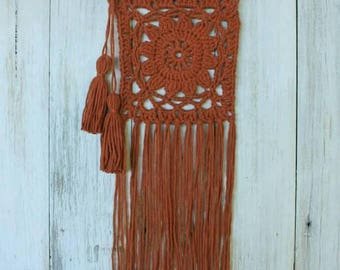 Boho crochet wallhanging, Rust colour on driftwood with tassles