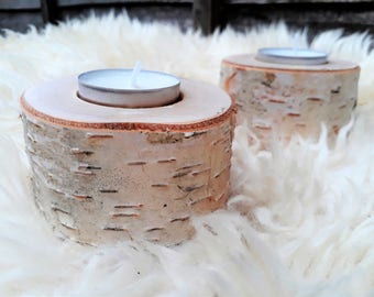 Silver Birch different size Rustic Wooden Branch Tree Tea Light Wood Candle Holders Wedding Christmas table decoration Perfect gift