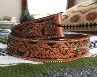 Vintage Hand Tooled Belt, Floral Leather Belt, sz 32