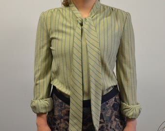 60s Secretary Blouse, Long Sleeve Office Dress Shirt