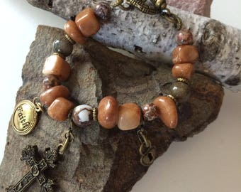 RockNStone - Faith Brown Stone Bracelet - IS22E