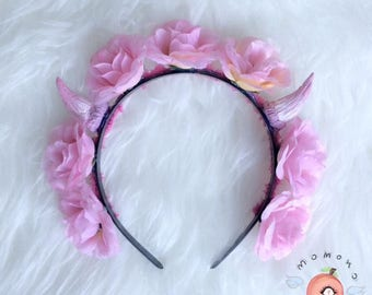 cute pink kawaii demonic flower crown