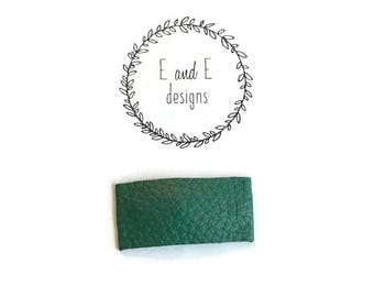 Hunter Green Leather Snap Hair Clip