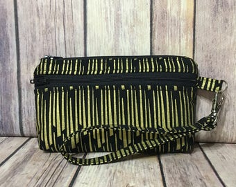 Black & Gold /Clutch/Pouch/Wallet with card slots and removable strap
