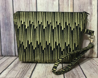 Black/Gold Wristlet/Clutch/Pouch with removable strap