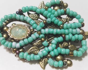 turquoise green hair clip hair accessories hair pin rococo style