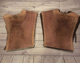 "2 Walnut Slabs Aprox 23"" x 18"" - 14"" x 1.75"" ideal 2 tier shelf etc"