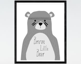 Brave Little Bear Nursery print, Monochrome Nursery print, tribal print, Nursery decor, Nursery Wall Art, Bear print, Animal Print, Nursery