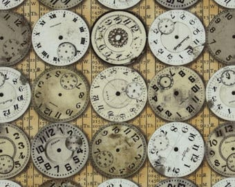 Cotton Fabric Quilting Tim Holtz Eclectic Elements Vintage Watch Face Fabric