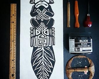 Aboriginal Artwork Linocut Print- Aboriginal Design- Aboriginals- Aboriginal Art- Mayan- Mayan Art- Mayan Culture- Mayan Decor- Tainos