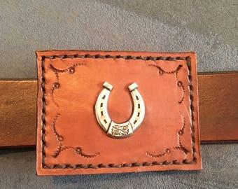 Leather belt buckle. Gift item. Australian made