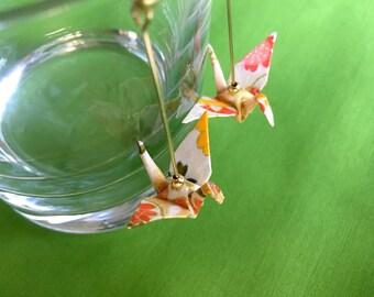 White origami crane earrings,  paper anniversary jewelry, origami earrings, origami jewelry, crane drop earrings, japanese jewelry