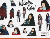 Diary stickers set, winter girl - transparent - decorative stationery Planner / scrapbooking stickers