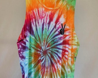 25% OFF ENTIRE SHOP Mens Medium - Tank Singlet - Ready To Ship - Unisex - Spiral Tie Dyed - 100 Percent Cotton - Free Shipping within Aus