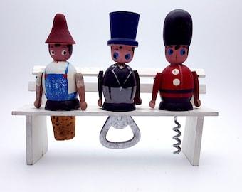 Set of Three Bar Wood Utensils Three Men on a Bench Farmer Soldier Man in Top Hat Barware Tools Cold Drink Maker Bartender Gift Ladies Night