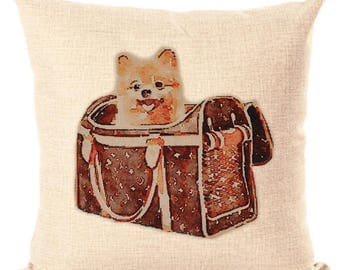 Louis Vuitton Inspired Classic Monogram Pillow Cover Decorative Pillow Black Beige Pillow Fashion Pillow Home Decor Couture LV Pomeranian