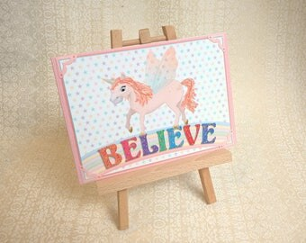 Unicorn, 'Believe' A5 card. Rainbow and stars. Supplied with handmade coordinating envelope.