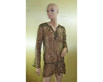 Vintage women top blouse brown 100% silk