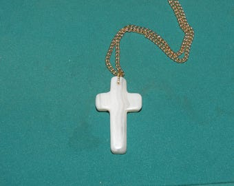 342 Sowbelly agate (blue lace) cross with gold chain