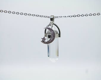 Clear Quartz Stainless Steal Chain Crystal Healing Point Necklace Adjustable Lobster Claw Closure Natural Stone Moon and Star