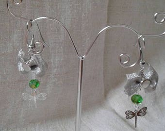 """""""with a bow and a Dragonfly duo"""" earrings"""