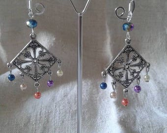 "Earrings ""square and multicolored pearls"""