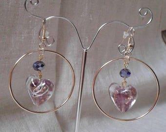 Purple Heart hoop earrings