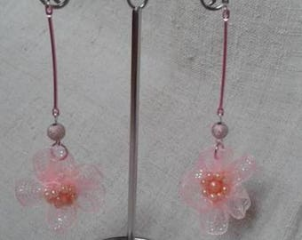 Pink organza Flower Earrings