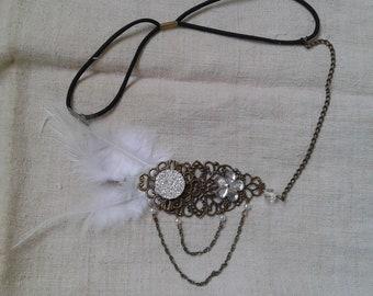 "headband ""charleston"" white feathers"