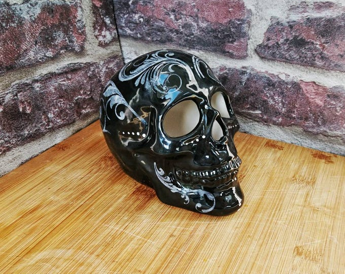 Skull Ornament, black and white, Glazed skulls, Home decoration, unique gothic gift, weird and wonderful, filigree, hand painted flourish