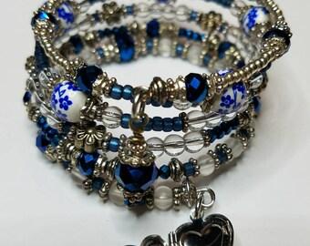 Cobalt blue memory wire bracelet with Heart locket