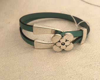 Leather with silver plate flower clasp