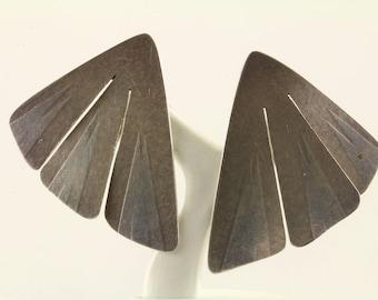 Vintage Thin Wings Stud Earrings 925 Sterling ER 78