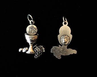 "JHS Communion Communion Chalice Medal Charms for Rosary, Necklace, Chaplet,  or Bracelet Oxidized Silver 1 1/4"" tall"