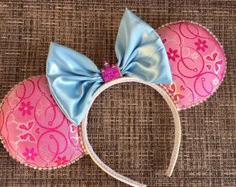 Sleeping Beauty Minnie Mouse Ears, Aurora Mickey Ears, Disney princess ears, Aurora Minnie Ears