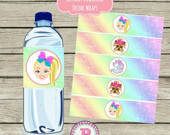 JoJo Siwa Birthday Party Drink Wraps Water Bottle Labels Instant Download Bows Puppy Rainbow Unicorn Dessert Buffet