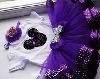 Purple Minnie Mousetutu set , tutu Polka dotted dots , Custom Made Minnie Mouse Dress Purple Polka dot , Birthday Black Purple Minnie Mouse