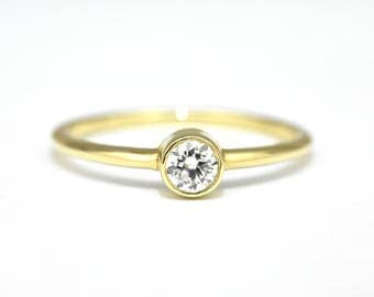 Dainty Diamond Engagement Ring, Diamond Gold Ring, Round Diamond Engagement Ring, 14k Yellow Gold Ring, Jewelry Gift for Her, Solitaire Ring