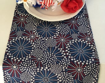 "Fireworks and Stars Table Runner 12"" x 84"", 12"" x 90"", 12"" x 108"" / 4th of July / Patriotic / Red, White, and Blue w/free shipping"
