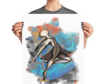 Dancing Ballerina Glitch Poster, 8x10, 16x20, Boho Decor, Abstract Dancer Print