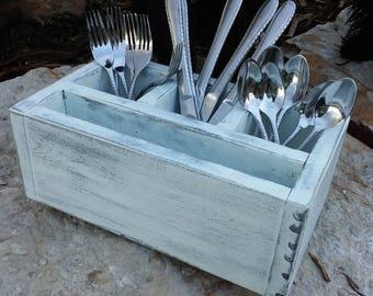 Distressed Utensil Holder - White , Rustic box, Storage box, Storage Container, Kitchen Decor, Dining, Kitchen Utensil Holder