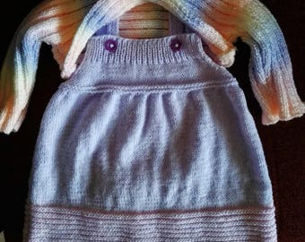 Wool Dress girl dress baby girl knitted hands strap dress with its pastel color 9/12 months bolero