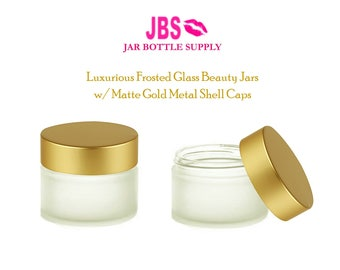 3 Luxury 30ml Upscale 1 oz Thick Clear FROSTED Glass Beauty Jars w/ MATTE GOLD Metal Shell Caps Candles, Lip Scrubs, Mask, Salve, Face Cream