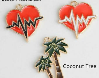 Red Heart Charms Heartbeat Electrocardiogram Charm,Gold Enamel Coconut Trees Charm Pendant Diy Jewelry Necklace Bracelet Pendants Accessory