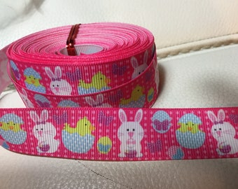 Pink GROS GRAIN Easter rabbits multicolor 22 mm Ribbon