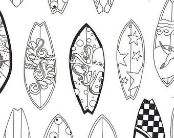 coupon fabric coloring surfboards by Blank quilting fabrics