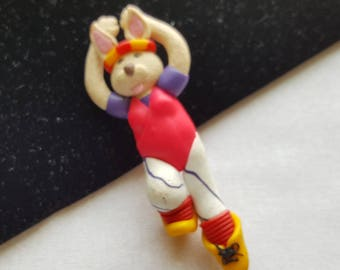 Vintage 1980's Clay Workout Bunny Brooch - Pin